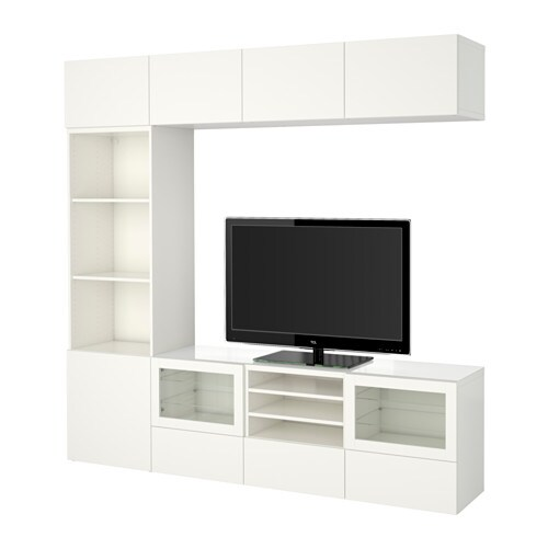 BESTÅ TV storage combination/glass doors, Lappviken, Sindvik white clear glass | Tuggl