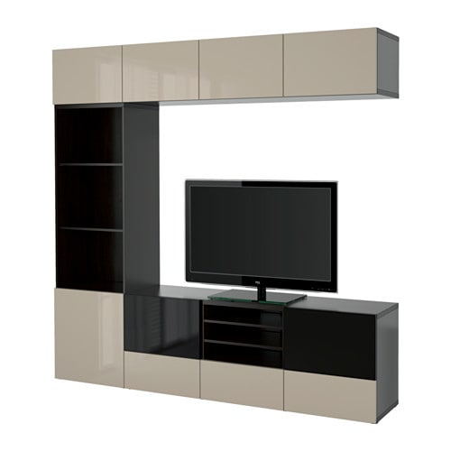 Best tv storage combination glass doors black brown for Meuble tv 1m