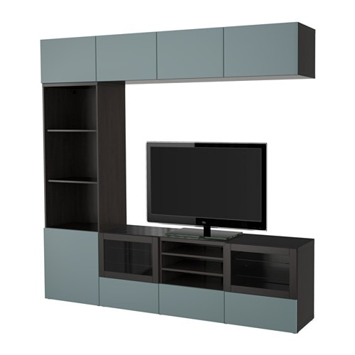 Best tv storage combination glass doors black brown valviken gray turquoise clear glass 94 1 - Ikea besta structuur ...