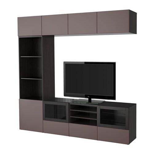 Best 197 Tv Storage Combination Glass Doors Black Brown