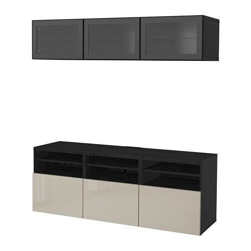 BESTÅ TV storage combination/glass doors, black-brown, Selsviken high gloss/beige clear glass | Tuggl