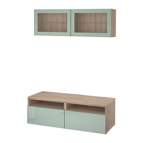 BESTÅ TV storage combination/glass doors - walnut effect light gray ...