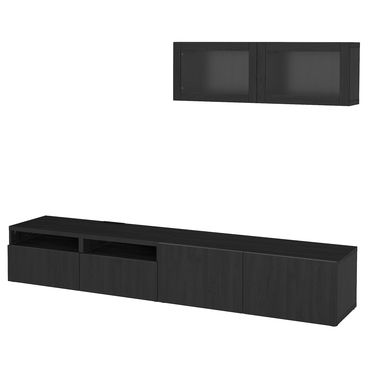 BESTÅ   TV Storage Combination/glass Doors, Lappviken, Sindvik Black Brown  Clear Glass
