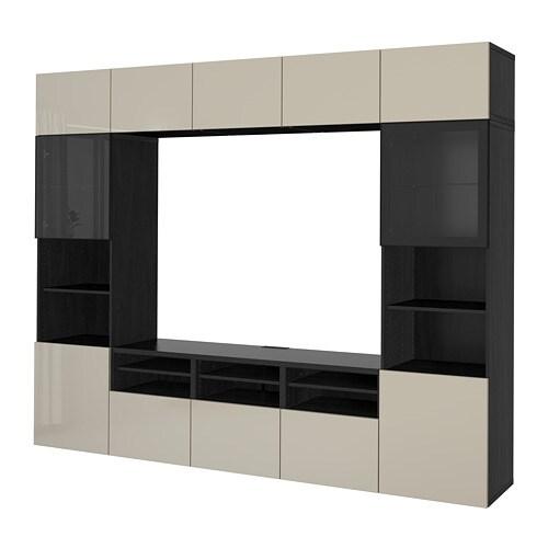 best tv storage combination glass doors black brown selsviken high gloss beige clear glass. Black Bedroom Furniture Sets. Home Design Ideas