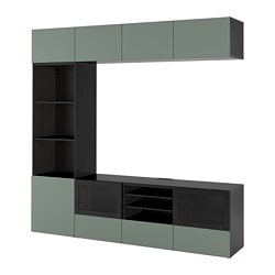 BESTÅ TV storage combination/glass doors, black-brown, Notviken gray-green clear glass