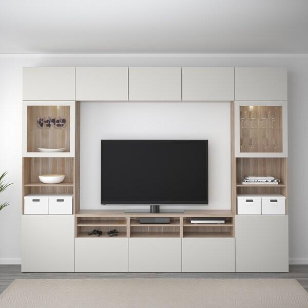 """BESTÅ TV storage combination/glass doors walnut effect light gray/Lappviken light gray clear glass 118 1/8 """" 15 3/4 """" 90 1/2 """""""