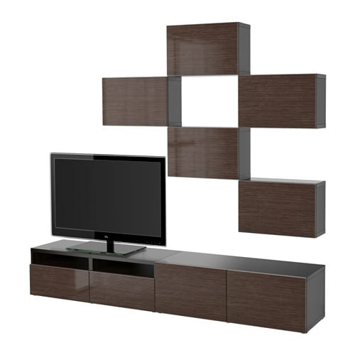 Best tv storage combination black brown selsviken high gloss brown drawer - Meuble tv metal ikea ...