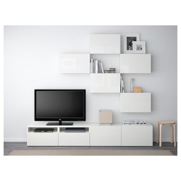 Tv Meubel Wit Besta.Besta Tv Storage Combination White Selsviken High Gloss White