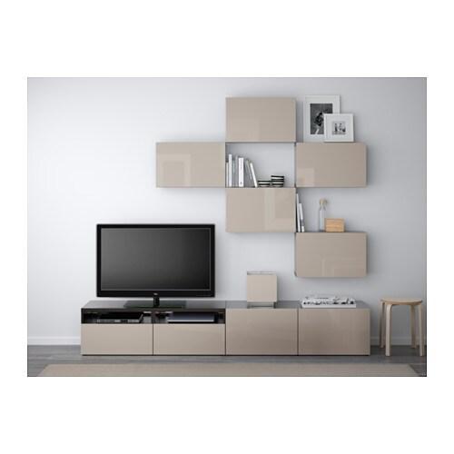 BEST TV storage combination - white/Selsviken high-gloss/white, drawer  runner, push-open - IKEA
