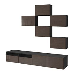 BESTÅ TV storage combination, black-brown, Selsviken high-gloss/brown