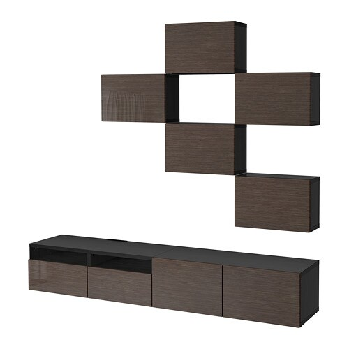 BESTÅ TV storage combination, black-brown, Selsviken high-gloss/brown | Tuggl
