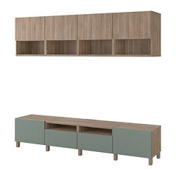 BESTÅ TV storage combination, walnut effect light gray Lappviken, Notviken/Stubbarp gray-green