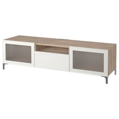 """BESTÅ TV unit, walnut effect light gray/Selsviken/Nannarp high-gloss/white frosted glass, 70 7/8x16 1/2x18 7/8 """""""