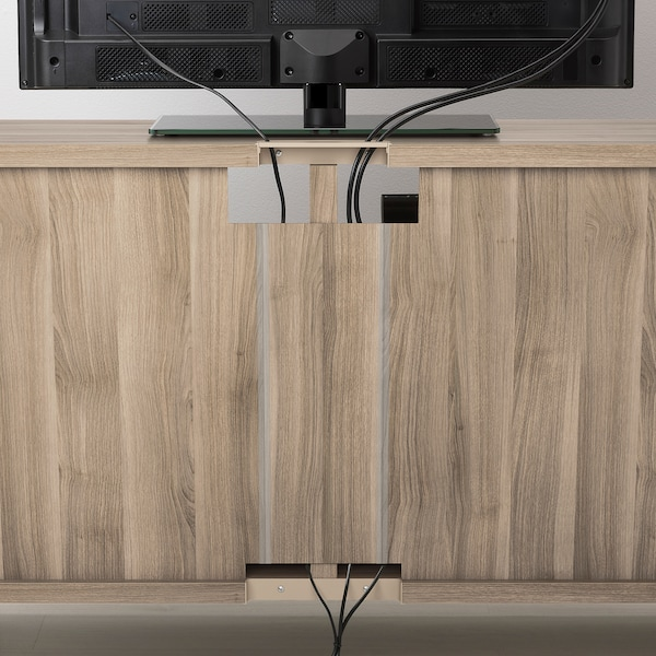 BESTÅ TV unit, walnut effect light gray, 47 1/4x15 3/4x25 1/4 ""