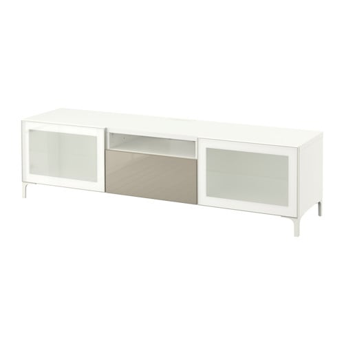 BESTÅ TV unit white Selsviken high gloss beige frosted