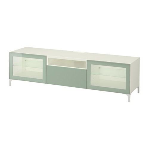 best tv unit white selsviken high gloss light gray green clear glass drawer runner push. Black Bedroom Furniture Sets. Home Design Ideas