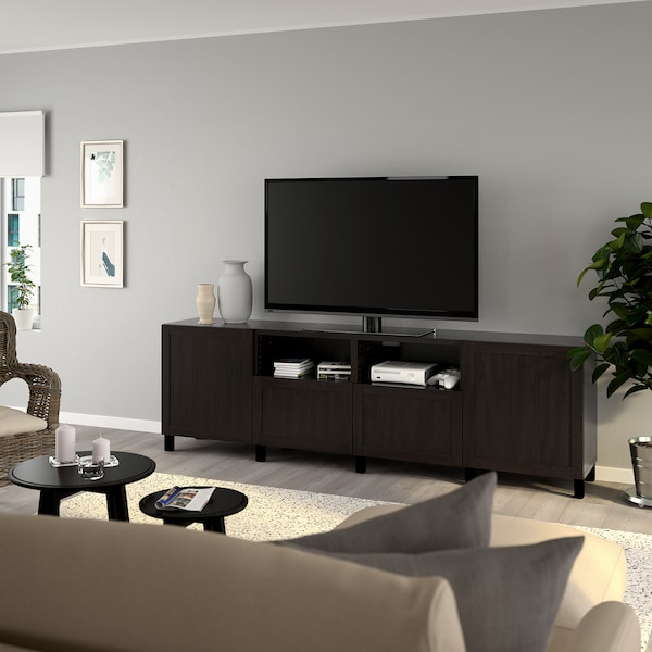"BESTÅ TV unit with doors and drawers, black-brown/Hanviken/Stubbarp black-brown, 94 1/2x16 1/2x29 1/8 """