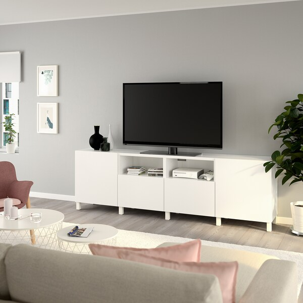 BESTÅ TV unit with doors and drawers, white/Lappviken/Stubbarp white, 94 1/2x16 1/2x29 1/8 ""