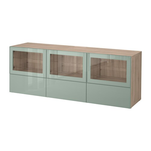 Bestå Tv Unit With Doors And Drawers Walnut Effect Light Gray