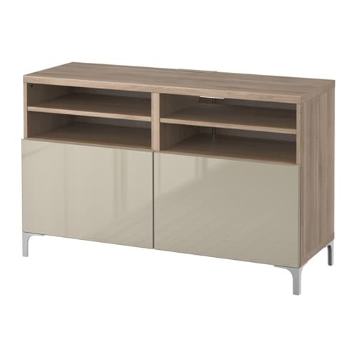 best tv unit with doors 120x40x74 cm walnut effect light gray selsviken high gloss beige ikea. Black Bedroom Furniture Sets. Home Design Ideas