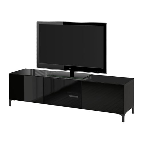 BESTÅ TV unit with doors - black-brown/Selsviken high gloss/black clear glass 70 7/8x15 3/4x15   drawer runner push-open - IKEA  sc 1 st  Ikea & BESTÅ TV unit with doors - black-brown/Selsviken high gloss/black ...