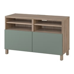 BESTÅ TV unit with doors, walnut effect light gray, Notviken/Stubbarp gray-green