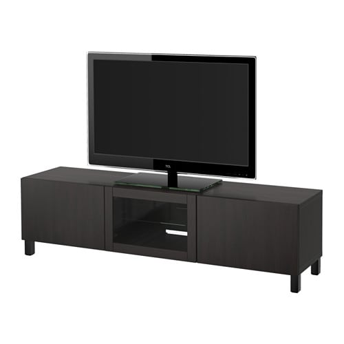 Besta Tv Unit With Drawers And Door Lappviken Black Brown Clear