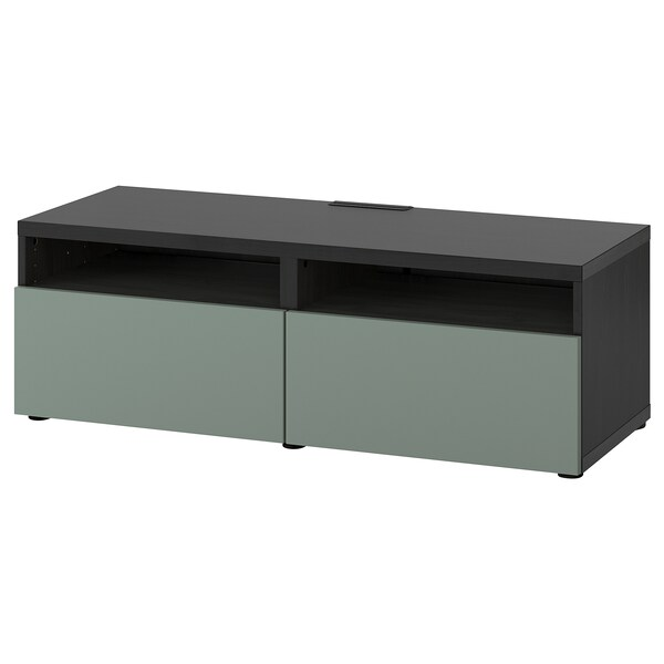 BESTÅ TV unit with drawers, black-brown/Notviken gray-green, 47 1/4x16 1/2x15 3/8 ""