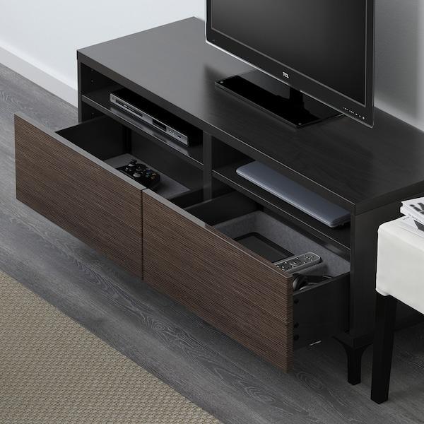 "BESTÅ TV unit with drawers, black-brown/Selsviken high-gloss/brown, 47 1/4x16 1/2x18 7/8 """