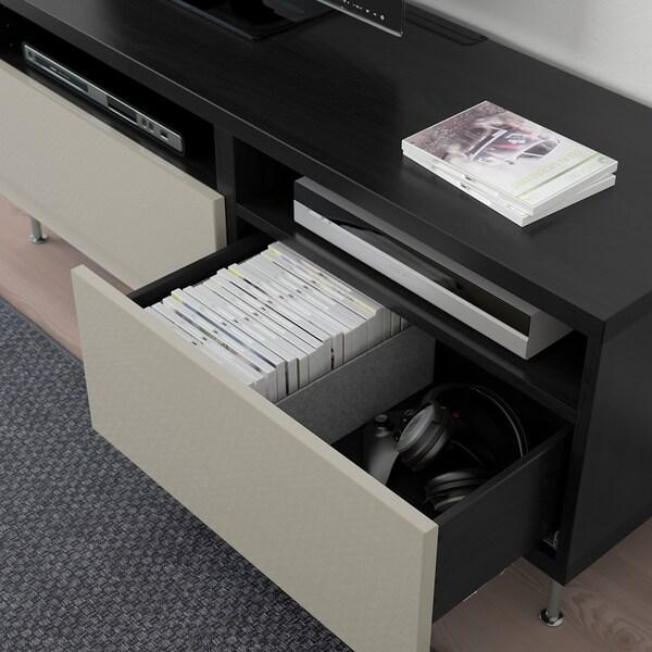 "BESTÅ TV unit with drawers, black-brown/Selsviken/Stallarp high-gloss/beige, 47 1/4x16 1/2x18 7/8 """