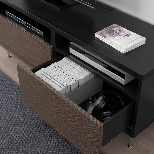 "BESTÅ TV unit with drawers, black-brown/Selsviken/Stallarp high-gloss/brown, 47 1/4x16 1/2x18 7/8 """