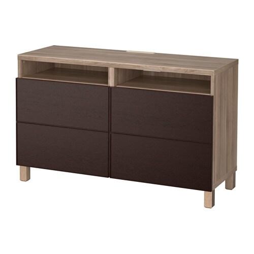 BESTå TV unit with drawers walnut effect light gray Inviken black brown, drawer runner, soft