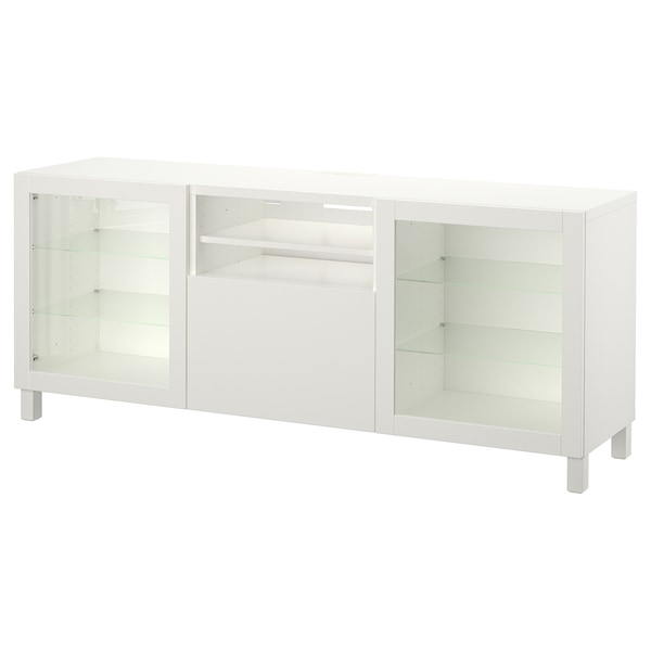 BESTÅ TV unit with drawers, Lappviken/Sindvik white clear glass, 70 7/8x15 3/4x29 1/8 ""