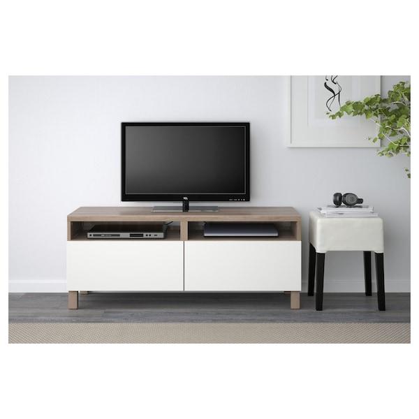 "BESTÅ TV unit with drawers, walnut effect light gray/Lappviken white, 47 1/4x16 1/2x18 7/8 """