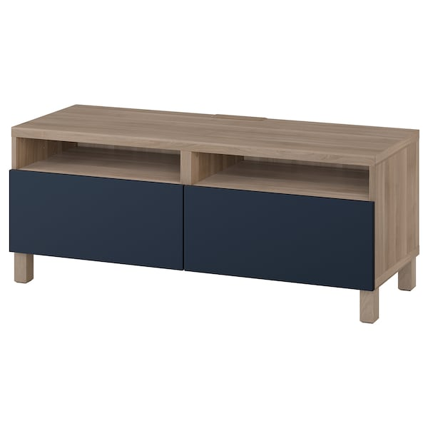 BESTÅ TV unit with drawers, walnut effect light gray/Notviken/Stubbarp blue, 47 1/4x16 1/2x18 7/8 ""