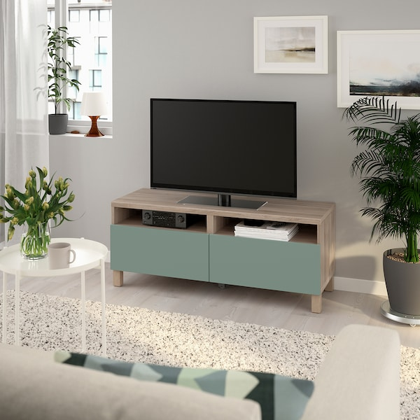 BESTÅ TV unit with drawers, walnut effect light gray/Notviken/Stubbarp gray-green, 47 1/4x16 1/2x18 7/8 ""