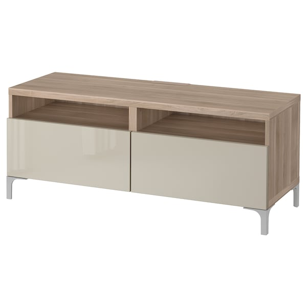 BESTÅ TV unit with drawers, walnut effect light gray/Selsviken high-gloss/beige, 47 1/4x16 1/2x18 7/8 ""