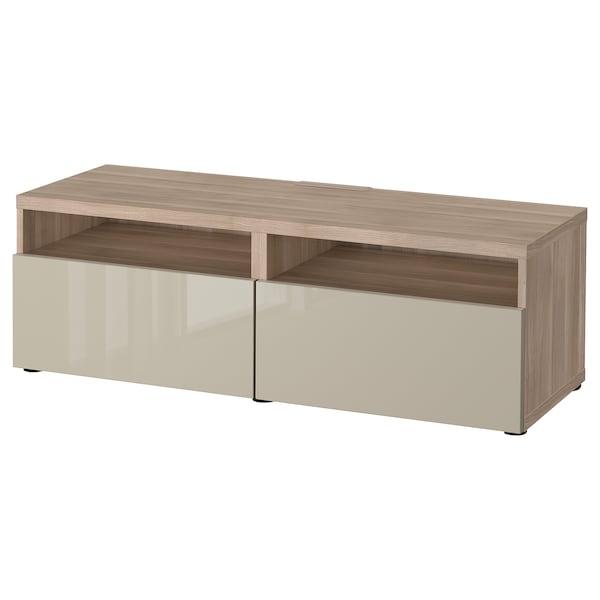 """BESTÅ TV unit with drawers, walnut effect light gray/Selsviken high-gloss/beige, 47 1/4x16 1/2x15 3/8 """""""