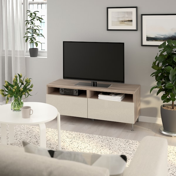 BESTÅ TV unit with drawers, walnut effect light gray/Selsviken/Stallarp high-gloss/beige, 47 1/4x16 1/2x18 7/8 ""