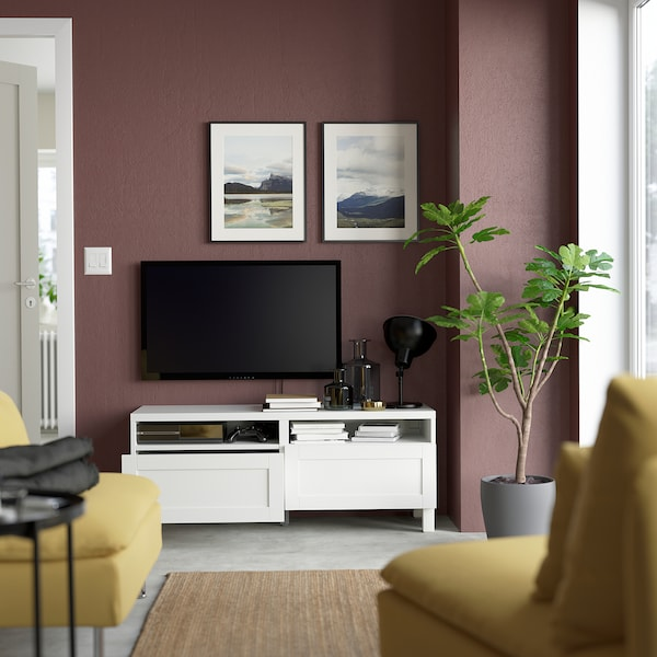 "BESTÅ TV unit with drawers, white/Hanviken/Stubbarp white, 47 1/4x16 1/2x18 7/8 """
