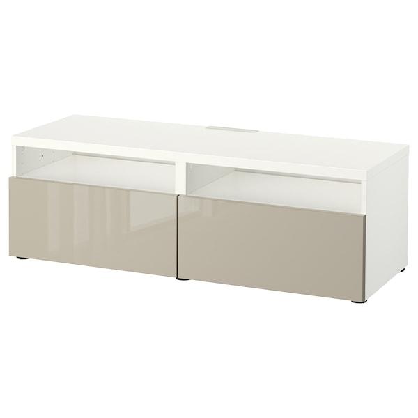 "BESTÅ TV unit with drawers, white/Selsviken high-gloss/beige, 47 1/4x16 1/2x15 3/8 """
