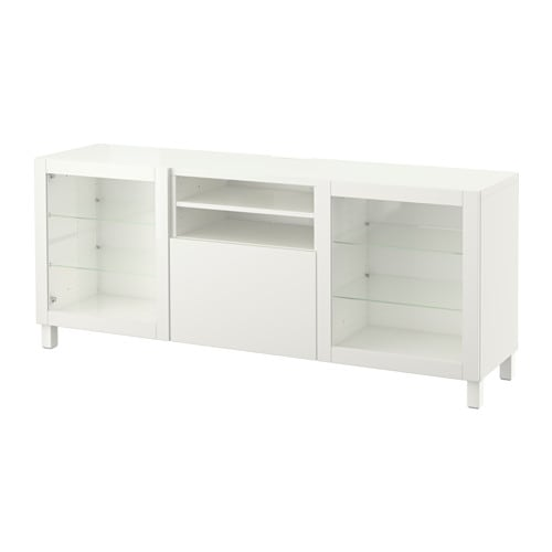 BESTÅ TV unit with drawers, Lappviken, Sindvik white clear glass | Tuggl