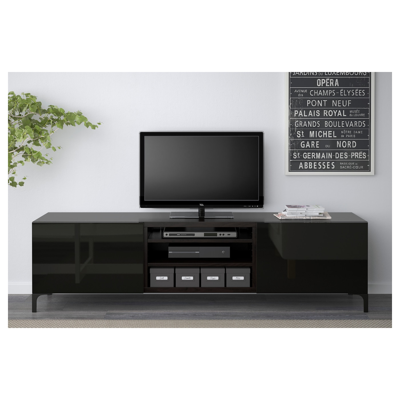 BESTÅ - TV unit with drawers, black-brown, Selsviken high-gloss/black