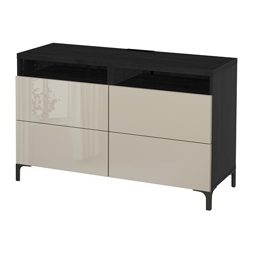 BestÅ Tv Unit With Drawers Black Brown Selsviken High Gloss Beige