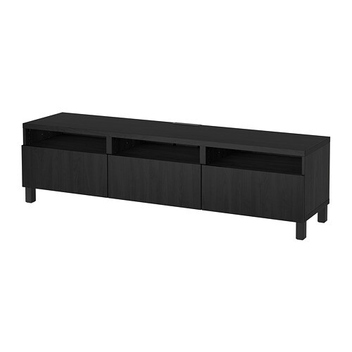 BESTÅ TV unit with drawers, Lappviken black-brown | Tuggl