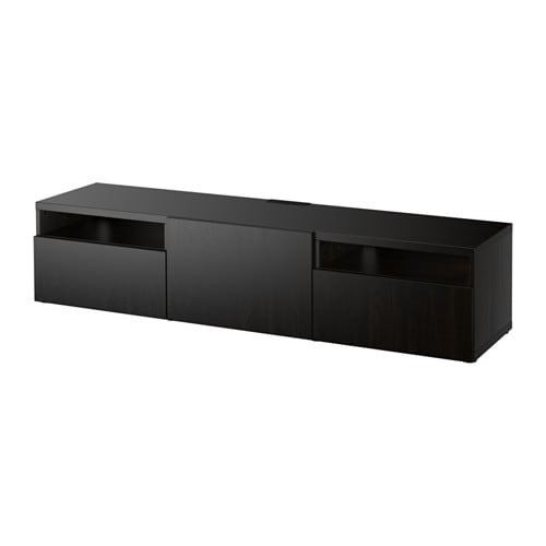 best tv unit lappviken black brown 180x40x38 cm drawer runner soft closing ikea. Black Bedroom Furniture Sets. Home Design Ideas