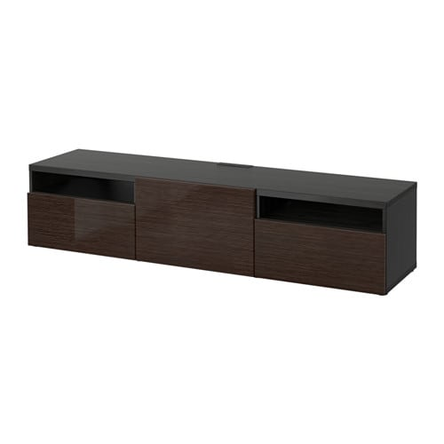 Best tv unit black brown selsviken high gloss brown for Meuble tv metal ikea