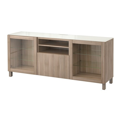 best tv unit lappviken sindvik gray stained walnut eff clear glass 180x40x74 cm drawer. Black Bedroom Furniture Sets. Home Design Ideas