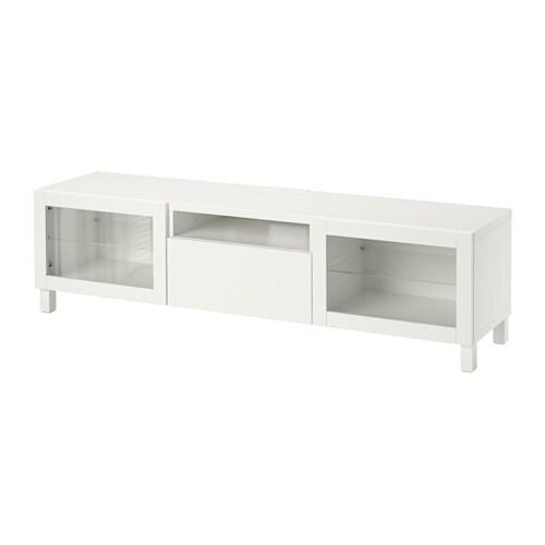 BEST TV unit LappvikenSindvik white clear glass drawer runner