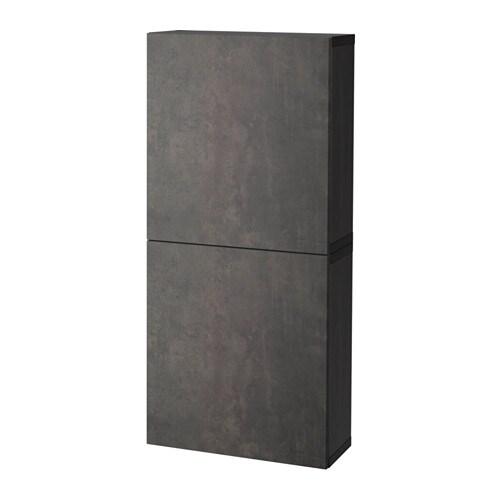 Best 197 Wall Cabinet With 2 Doors Black Brown Kallviken